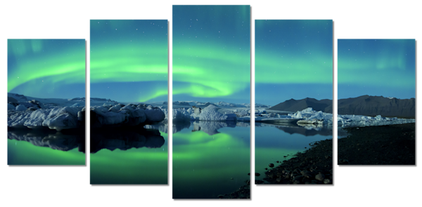Dancing Auroras 5 Piece Canvas Wall Art