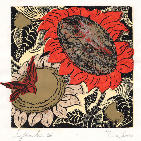 Sunflower series 24, woodcut print with chine colle collage on the surface, woodcut printed songbird, fine art for sale by Ouida Touchon, artist.