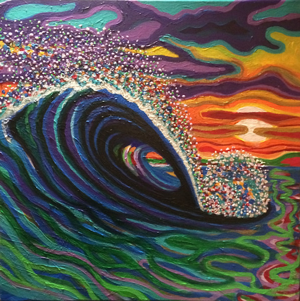A Dandy Wave at Sunset is exactely what this is.  Watch the whitewater expand like a dandylion in the off shore winds.