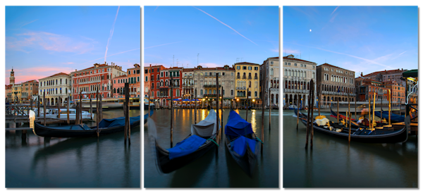 The Grand Canal Venice Italy 3 Piece Canvas Wall Art by Brad Scott
