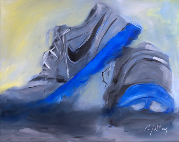 alla-prima, still-life, sports, track, running shoes