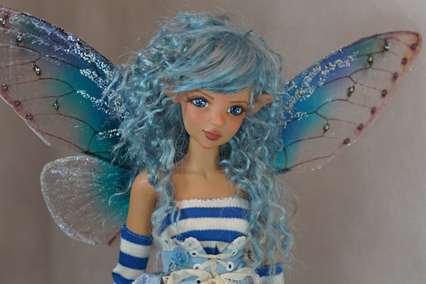 Blue Fairy Looking Right Fine Art Print by Bo Bergemann