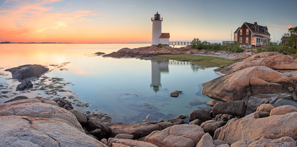 """Annisquam Sunset Panorama"" Gloucester MA Lighthouse Photograph"