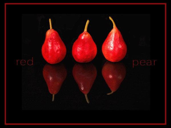 """Red Pear"", a decorative art photograph by Rebecca Benezue"