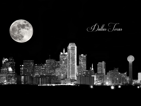 """Dallas Skyline at Night"", decorative art photograph by Rebecca Benezue"