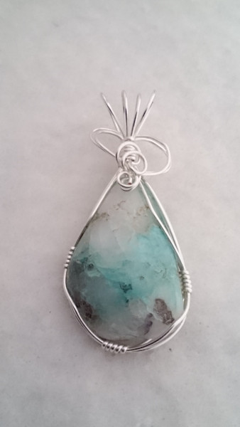 """Chrysocolla Quartz Pendant"" by Sherryl Brunner 