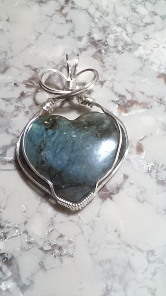 """Heart shaped Labradorite Pendant"" by Sherryl Brunner 