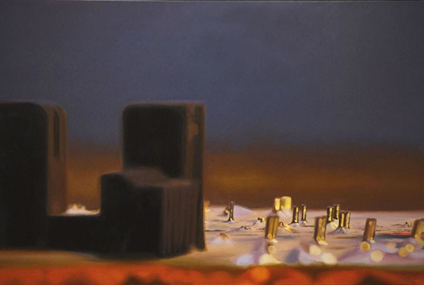 A mysterious landscape, created from computer circuit boards, creates an otherworldly feel in this original oil painting by Glen Kessler.