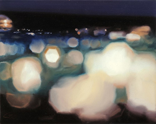 This beautiful original oil painting on canvas by artist Glen Kessler gives the illusion of a city at night, although it is really a close up abstraction of a computer circuit board. In CircuitScape 72: Bokeh, the artist creates a magical, light fil
