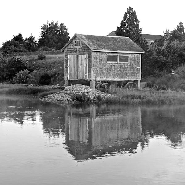 Black and White photograph of Quitsa Pond Clam Shack on Martha's Vineyard