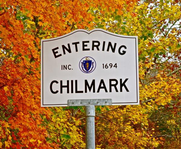 Chilmark Town Sign in Autumn
