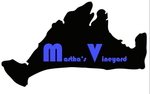 Martha's Vineyard logo in Bauhaus print style, bumper sticker or small print