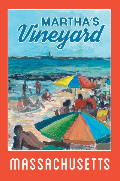Oak Bluffs Travel Poster featuring Tim Gerstmar's Inkwell Beach painting
