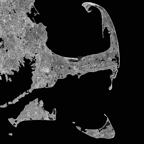 Satellite map of Martha's Vineyard, Cape Cod, Nantucket in black and white