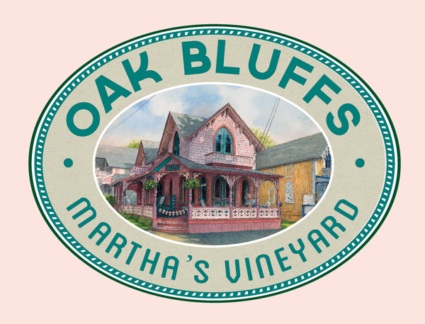 Oak Bluffs poster art featuring Gingerbread Cottages
