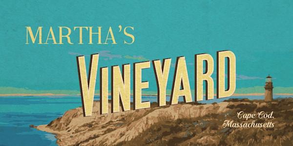 Martha's Vineyard banner graphic for poster art, featuring Gay Head Cliffs.