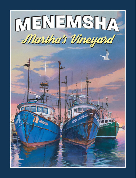 Menemsha poster art featuring fishing trawlers, Martha's Vineyard poster print