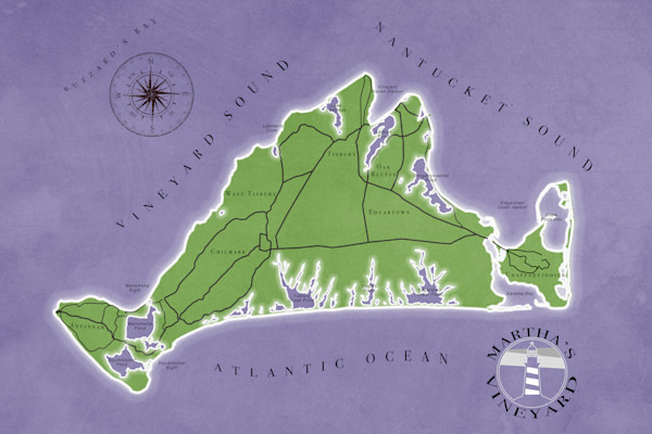Purple Map of Martha's Vineyard by Ryan Matta