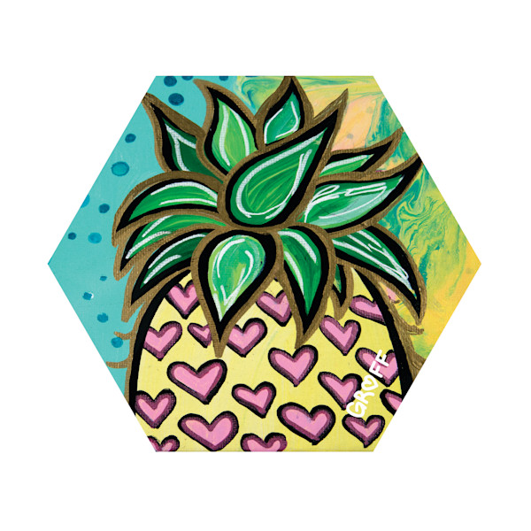 Hex Wood Coasters | Pineapple Hearts