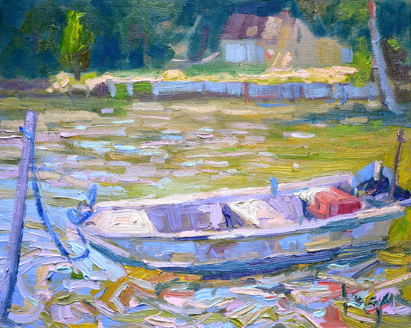High Tide, Small work boat painting by Dorothy Fagan