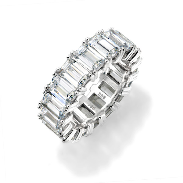 Silver Emerald Cut Eternity Ring | Southwest Jewelry