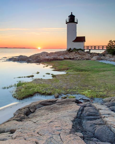 Annisquam Lighthouse Sunset Vertical - Fine Art Beach Photography of Gloucester, MA, Cape Ann, Massachusetts