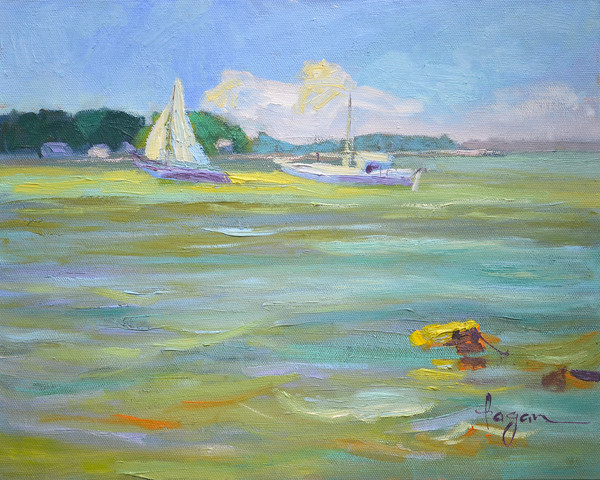 Chesapeake Bay Sailing Art Print Painting, Freya Homecoming  by Dorothy Fagan