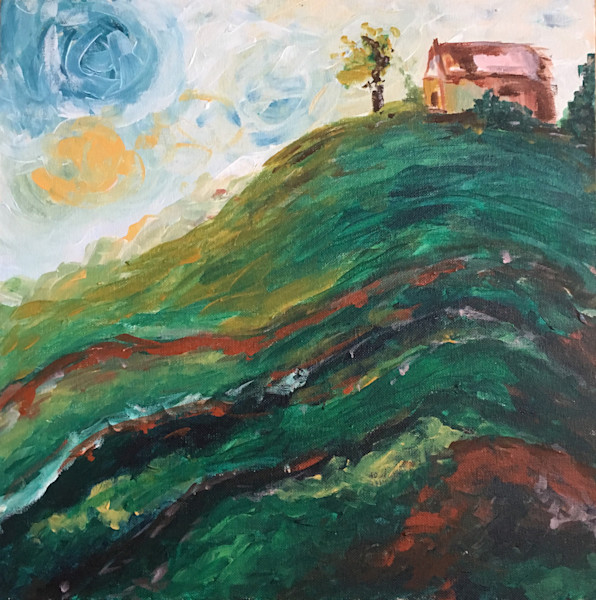House on a Hill Original Painting by Roxy Rich