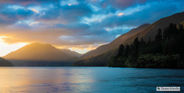 Spectacular Lake Crescent sunrise captured in Olympic National Park / Washington State fine art scenic landscape photography decor prints by Tom Schoeller