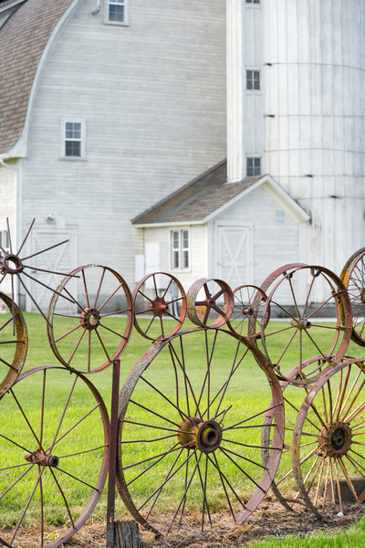 Dahmen Barn Wheel Fence (171749LSND8-S) Barn & Wheel Fine Art Photo for Sale as Print