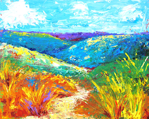 Colorful landscape paintings by Claudia True. Available on canvas, paper and metal