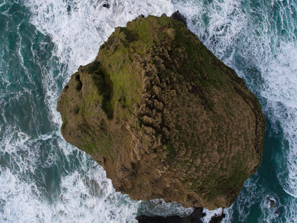 Haystack Rock From Above Aerial