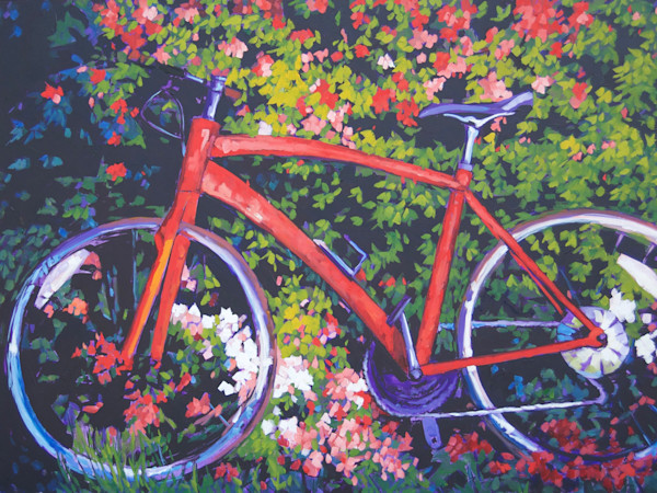 Shop for fine art prints like Azalea Bike, from original oil on canvas painting by Matt McLeod at Matt McLeod Fine Art Gallery.