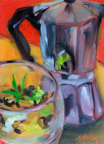 Reflection in the Bialetti painting by Paul William  | Still life art