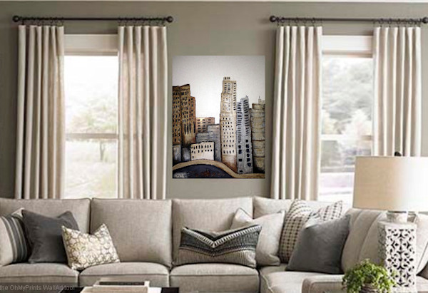 Original three dimensional large artwork city painting of Los Angeles by Artist Roxy Rich