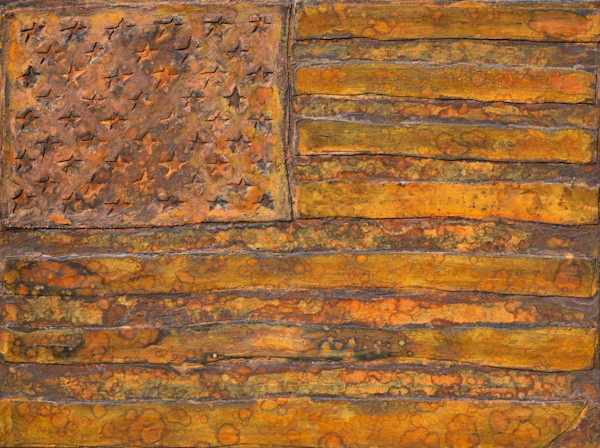 Oxidized American Flag Oxidation Painting by Wet Paint NYC Artist Paul Zepeda