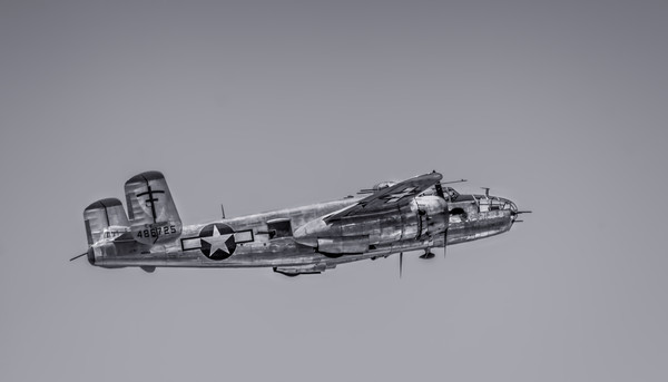 Historic B-25 Mitchell Super Rabbit In The Air Monochrome fleblanc