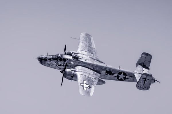 Historic B-25 Mitchell Super Rabbit In The Air Black & White fleblanc