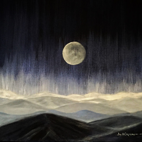 night fall, full moon, mountains