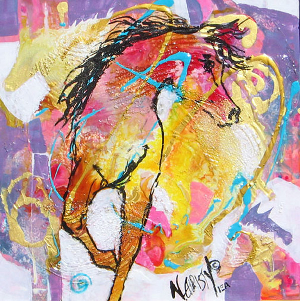 Original acrylic/mixed media painting of abstract horses in pale colors on framed cradled wood panel