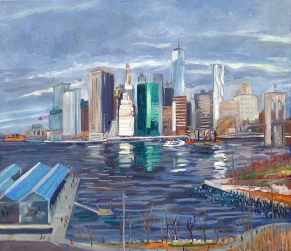 The FiDi from Brooklyn Original Oil Painting by Wet Paint NYC Artist Michael Serafino