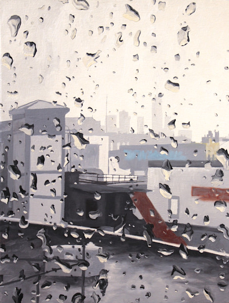 Rainy Day New York Painting by Wet Paint NYC Artist Michael Serafino