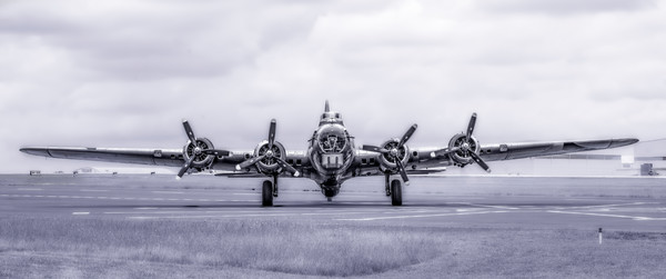 Art Photograph B-17 Flying Fortress Madras Maiden Front View Monochrome fleblanc