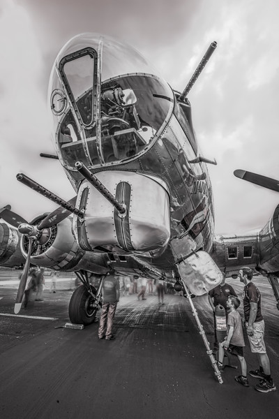 Art Photograph B-17 Flying Fortress Madras Maiden From a Kids View Monochrome fleblanc