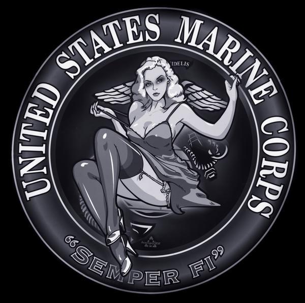 Art Photograph United States Marine Corps Semper Fi Medallion Circle Monochrome fleblanc