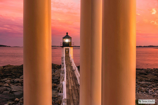Vivid colors and a unique perspective define this fine art wall decor of Marshall Point Lighthouse, Maine