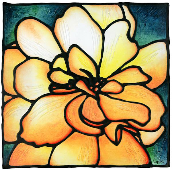 Orange and Yellow Begonia Flower Original Painting