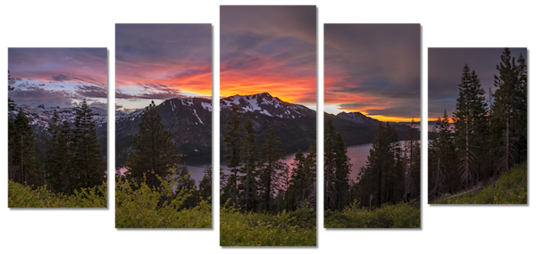 Tahoe Sunset 5 Piece Canvas Art Wall