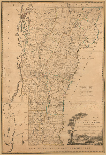 Map of Vermont in 1796