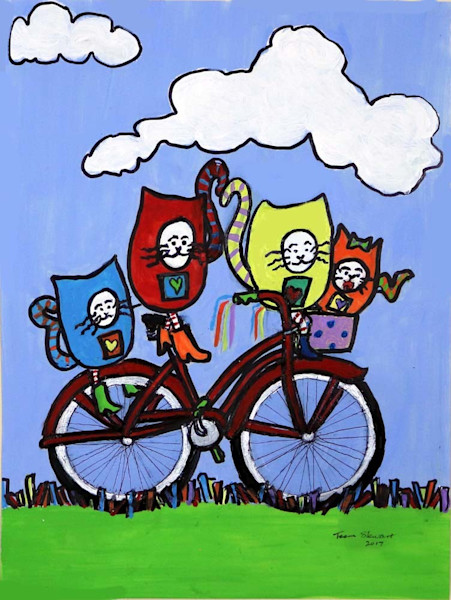 Cat-Bike, Painting of Cats on a Bike, Fine Art and Paintings for Sale by Teena Stewart of Serendipitini Studio